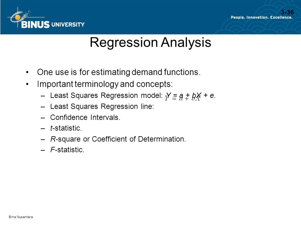 Bina Nusantara Regression Analysis One use is for estimating demand functions. Important terminology and concepts: –Least Squares Regression model: Y