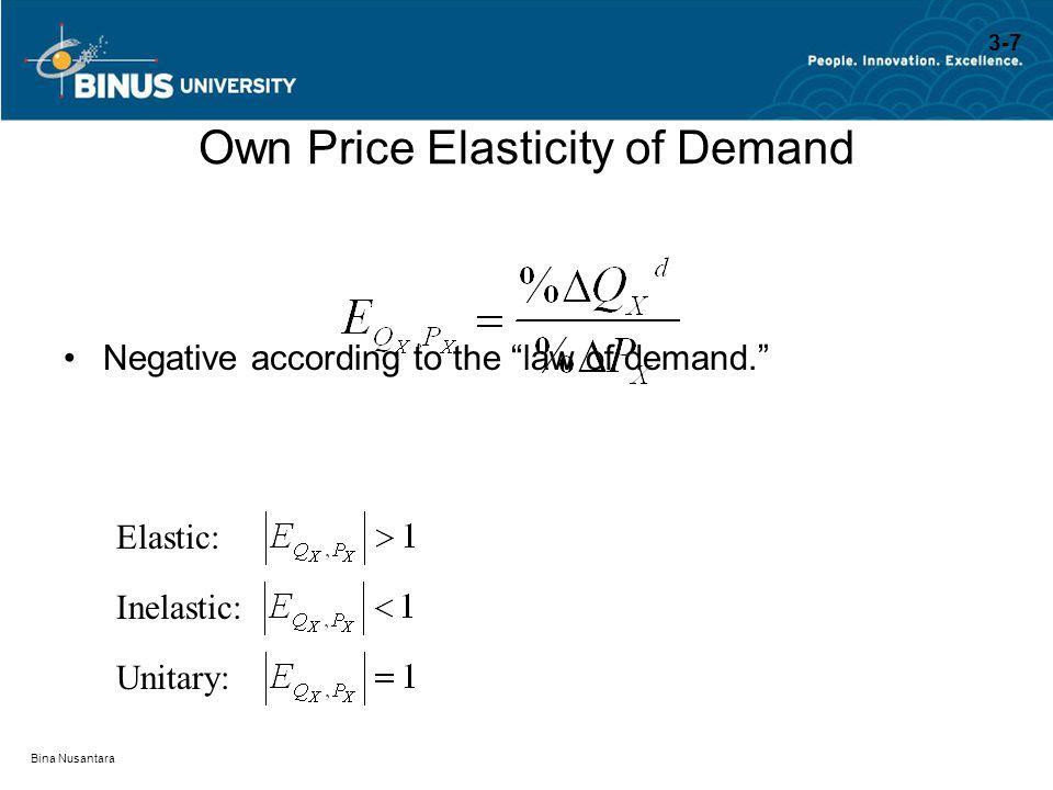 "Bina Nusantara Own Price Elasticity of Demand Negative according to the ""law of demand."" Elastic: Inelastic: Unitary: 3-7"