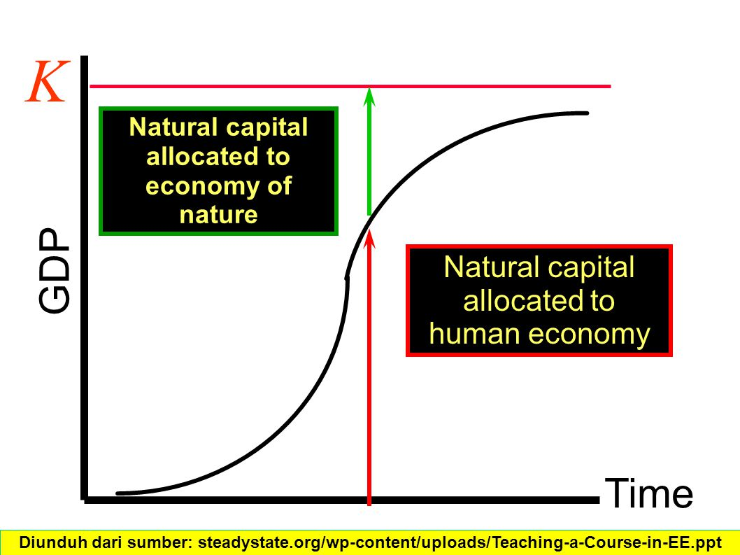Time GDP K Natural capital allocated to human economy Natural capital allocated to economy of nature Diunduh dari sumber: steadystate.org/wp-content/uploads/Teaching-a-Course-in-EE.ppt‎