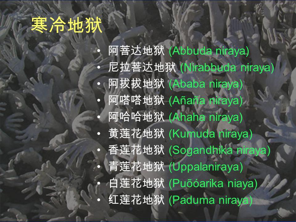 寒冷地狱 阿菩达地狱 (Abbuda niraya) 尼拉菩达地狱 (Nirabbuda niraya) 阿拔拔地狱 (Ababa niraya) 阿嗒嗒地狱 (Añaña niraya) 阿哈哈地狱 (Ahaha niraya) 黄莲花地狱 (Kumuda niraya) 香莲花地狱 (Sogandhika niraya) 青莲花地狱 (Uppalaniraya) 白莲花地狱 (Puõóarika niaya) 红莲花地狱 (Paduma niraya)