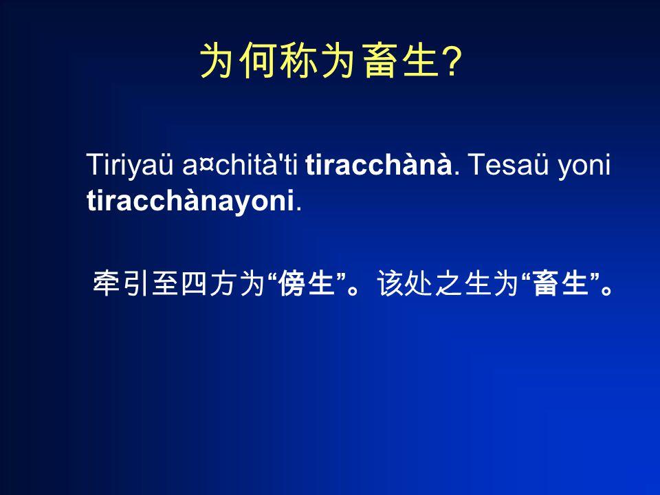 为何称为畜生 Tiriyaü a¤chità ti tiracchànà. Tesaü yoni tiracchànayoni. 牵引至四方为 傍生 。该处之生为 畜生 。