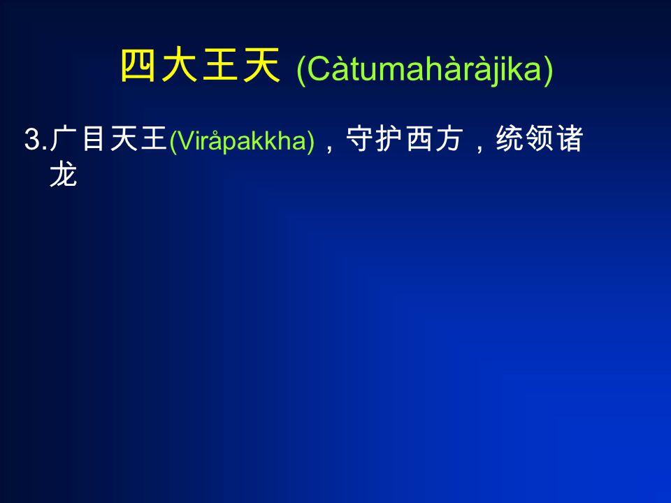 四大王天 (Càtumahàràjika) 3. 广目天王 (Viråpakkha) ,守护西方,统领诸 龙