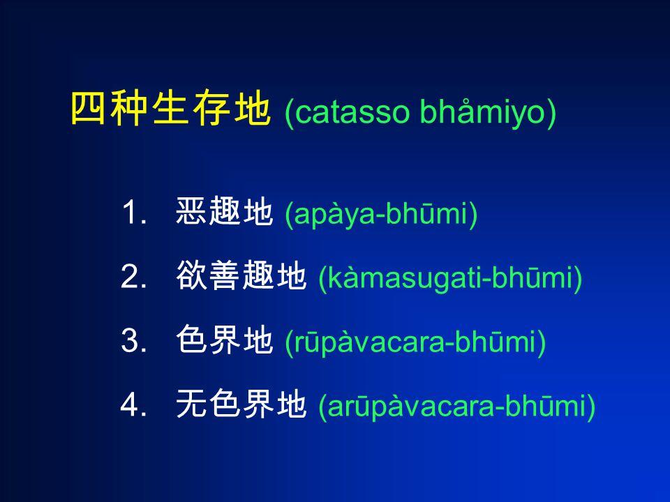 四种生存地 (catasso bhåmiyo) 1. 恶趣地 (apàya-bhūmi) 2. 欲善趣地 (kàmasugati-bhūmi) 3.