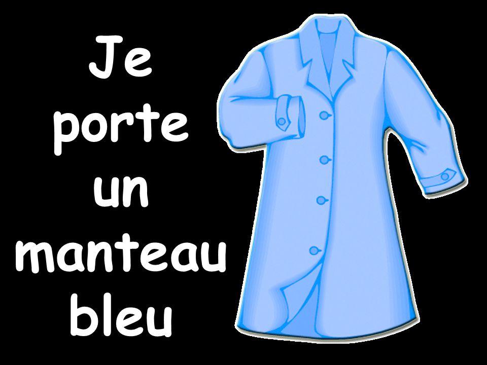 Je porte un manteau bleu