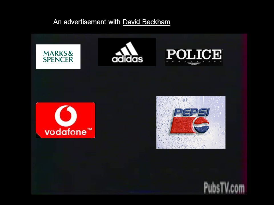 An advertisement with David Beckham