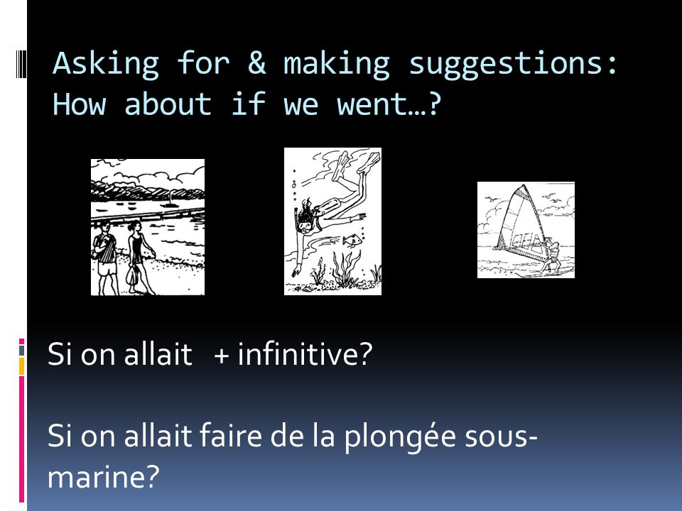 Asking for & making suggestions: How about if we went…? Si on allait + infinitive? Si on allait faire de la plongée sous- marine?