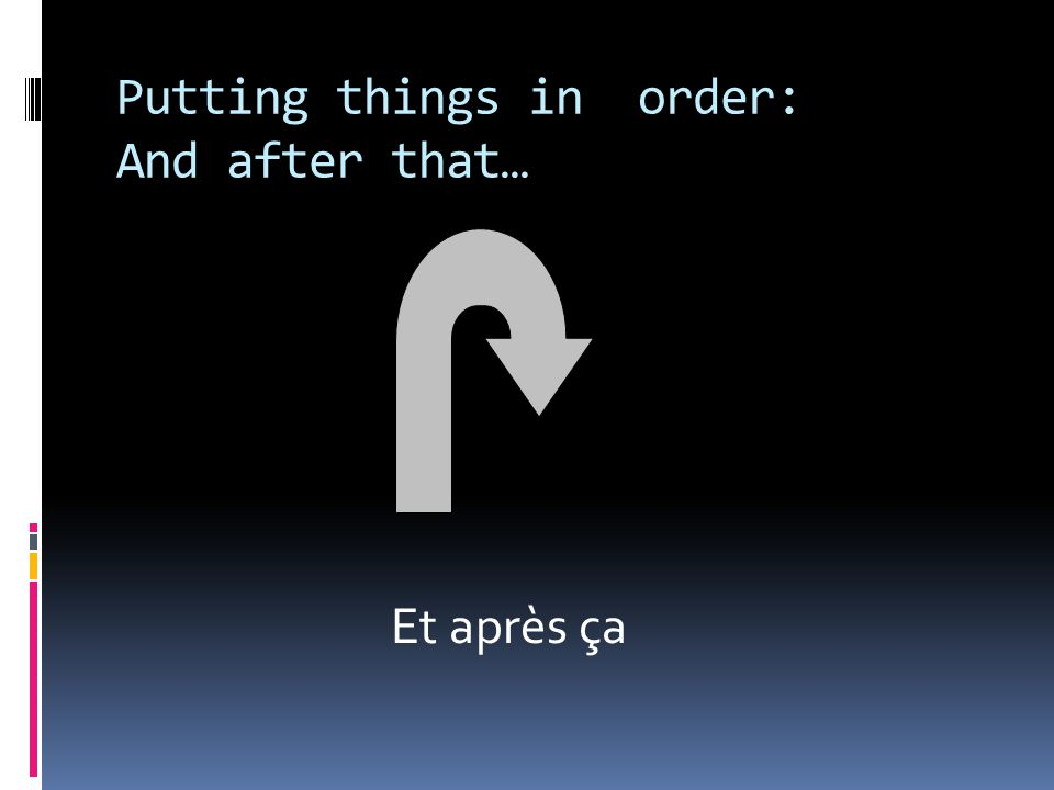 Putting things in order: And after that… Et après ça