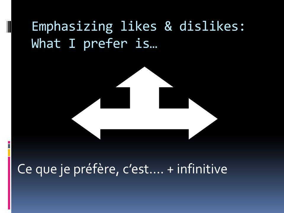 Emphasizing likes & dislikes: What I prefer is… Ce que je préfère, c'est…. + infinitive