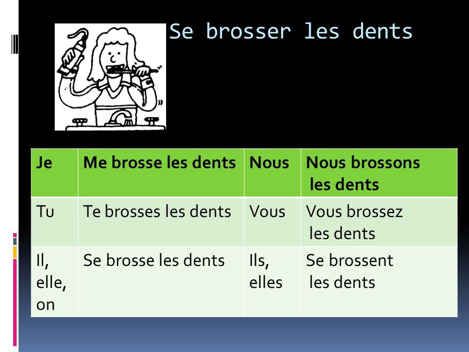 JeMe brosse les dentsNousNous brossons les dents TuTe brosses les dentsVousVous brossez les dents Il, elle, on Se brosse les dentsIls, elles Se brossent les dents