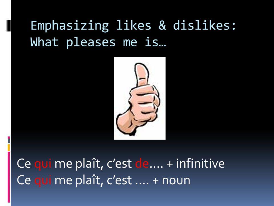 Emphasizing likes & dislikes: What pleases me is… Ce qui me plaît, c'est de….