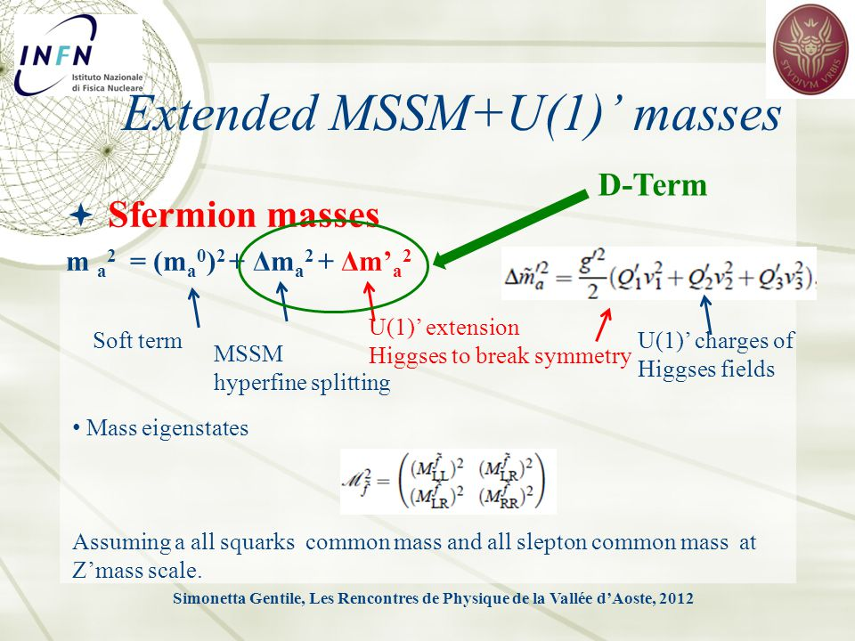 Sfermion masses m a 2 = (m a 0 ) 2 + Δm a 2 + Δm' a 2 Simonetta Gentile, Les Rencontres de Physique de la Vallée d'Aoste, 2012 Extended MSSM+U(1)' masses Soft term MSSM hyperfine splitting U(1)' extension Higgses to break symmetry D-Term U(1)' charges of Higgses fields Mass eigenstates Assuming a all squarks common mass and all slepton common mass at Z'mass scale.