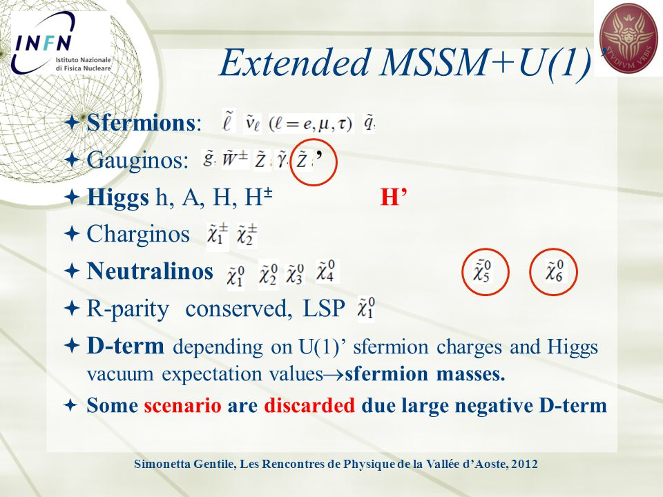 Extended MSSM+U(1)'  Sfermions:  Gauginos: '  Higgs h, A, H, H ± H'  Charginos  Neutralinos  R-parity conserved, LSP  D-term depending on U(1)' sfermion charges and Higgs vacuum expectation values  sfermion masses.