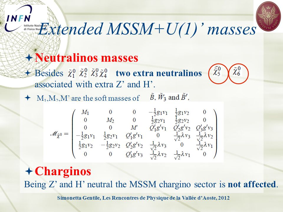  Neutralinos masses  Besides two extra neutralinos associated with extra Z' and H'.