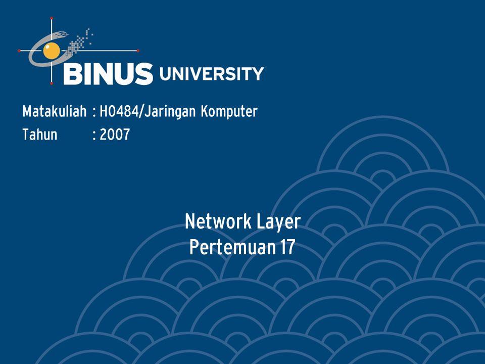Network Layer Pertemuan 17 Matakuliah: H0484/Jaringan Komputer Tahun: 2007