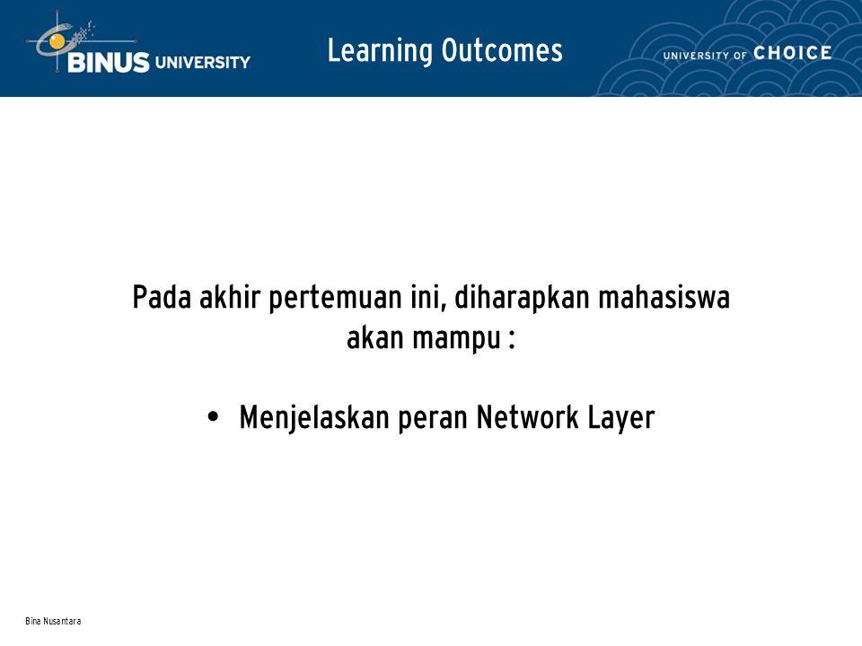 Bina Nusantara Learning Outcomes Pada akhir pertemuan ini, diharapkan mahasiswa akan mampu : Menjelaskan peran Network Layer