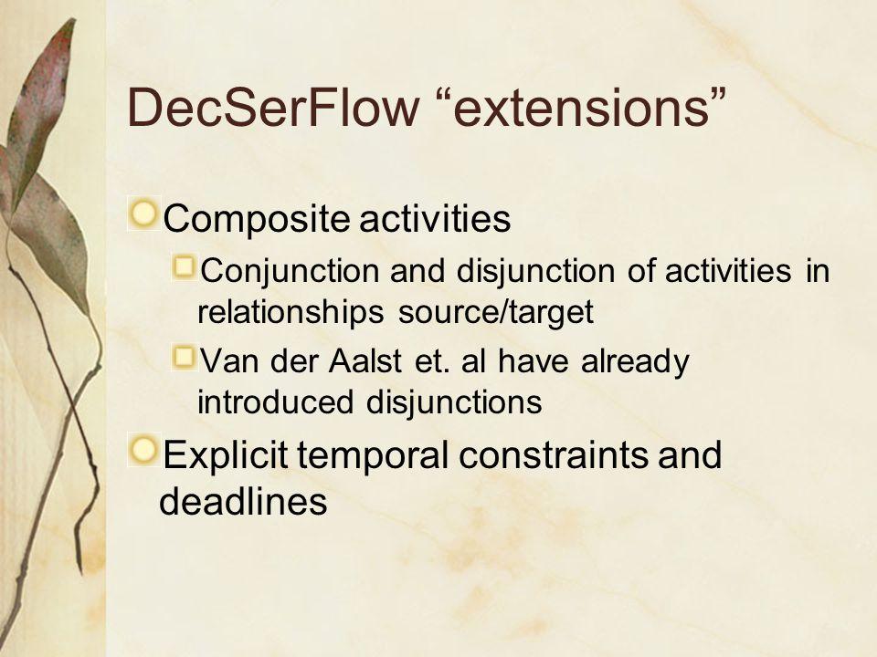 DecSerFlow extensions Composite activities Conjunction and disjunction of activities in relationships source/target Van der Aalst et.
