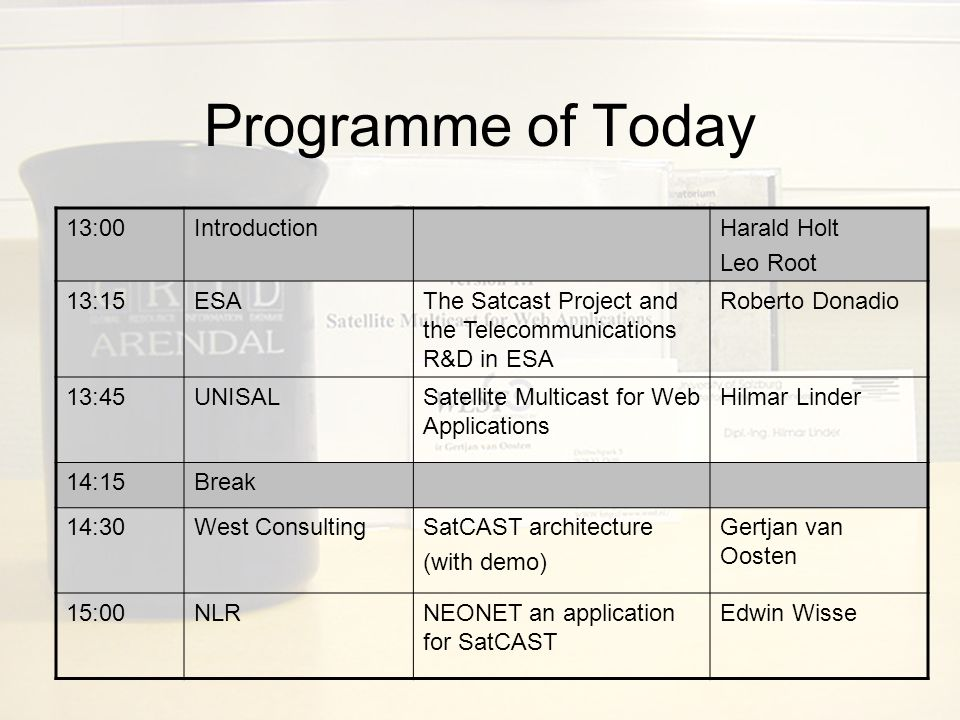 SatCAST Parties involved –Project Team ESA European Space Agency West Consulting B.V.