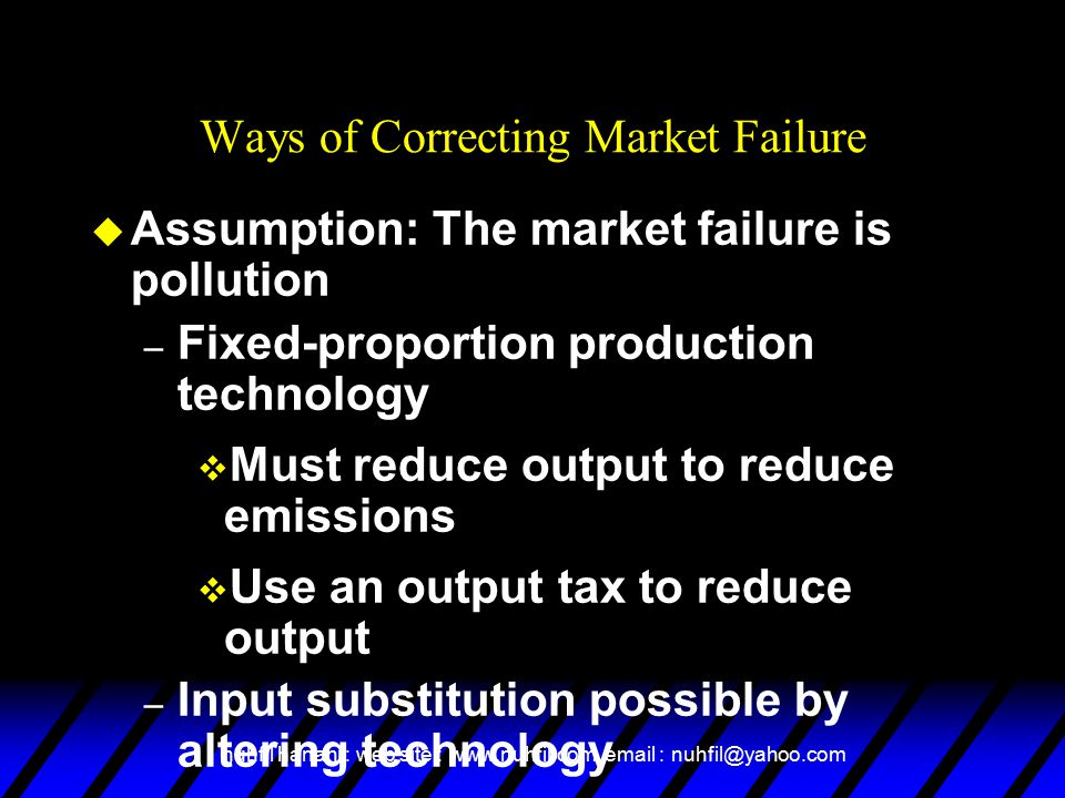 nuhfil hanani : web site : www.nuhfil.com, email : nuhfil@yahoo.com Ways of Correcting Market Failure u Assumption: The market failure is pollution – Fixed-proportion production technology v Must reduce output to reduce emissions v Use an output tax to reduce output – Input substitution possible by altering technology