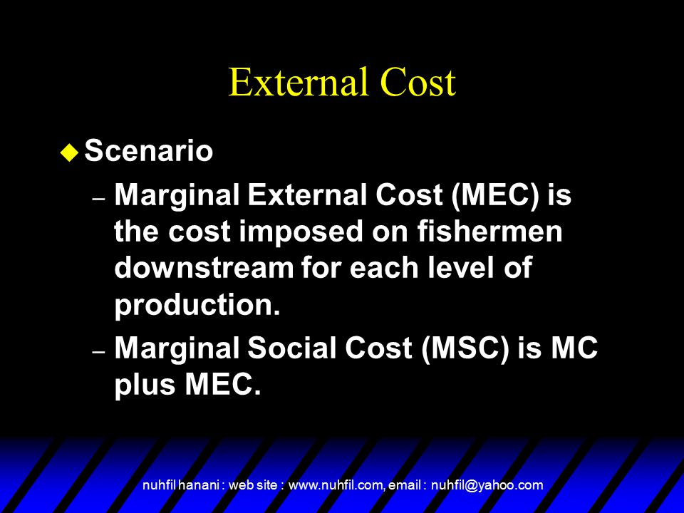 nuhfil hanani : web site : www.nuhfil.com, email : nuhfil@yahoo.com External Cost u Scenario – Marginal External Cost (MEC) is the cost imposed on fishermen downstream for each level of production.