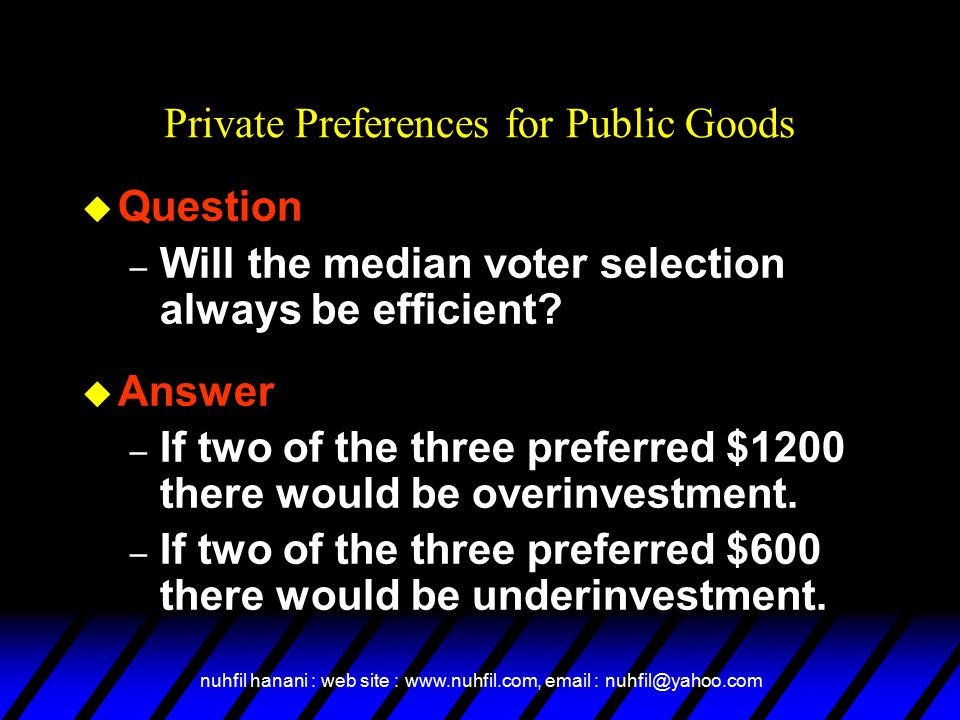 nuhfil hanani : web site : www.nuhfil.com, email : nuhfil@yahoo.com u Question – Will the median voter selection always be efficient.