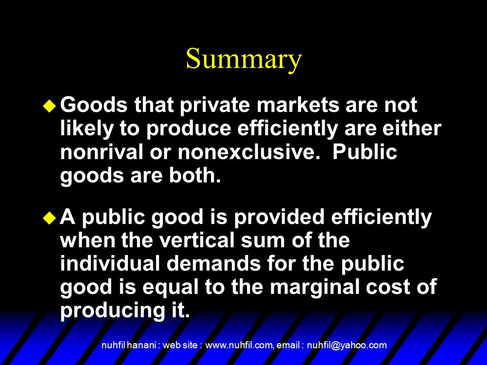 nuhfil hanani : web site : www.nuhfil.com, email : nuhfil@yahoo.com Summary u Goods that private markets are not likely to produce efficiently are either nonrival or nonexclusive.