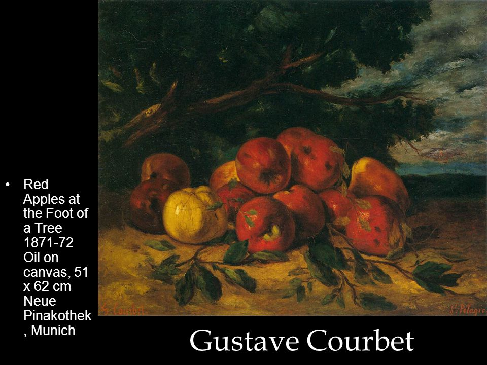 Gustave Courbet Red Apples at the Foot of a Tree 1871-72 Oil on canvas, 51 x 62 cm Neue Pinakothek, Munich