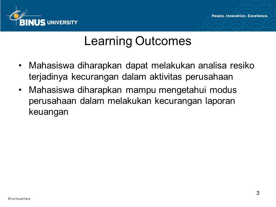 Bina Nusantara Mahasiswa diharapkan dapat melakukan analisa resiko terjadinya kecurangan dalam aktivitas perusahaan Mahasiswa diharapkan mampu mengetahui modus perusahaan dalam melakukan kecurangan laporan keuangan Learning Outcomes 3