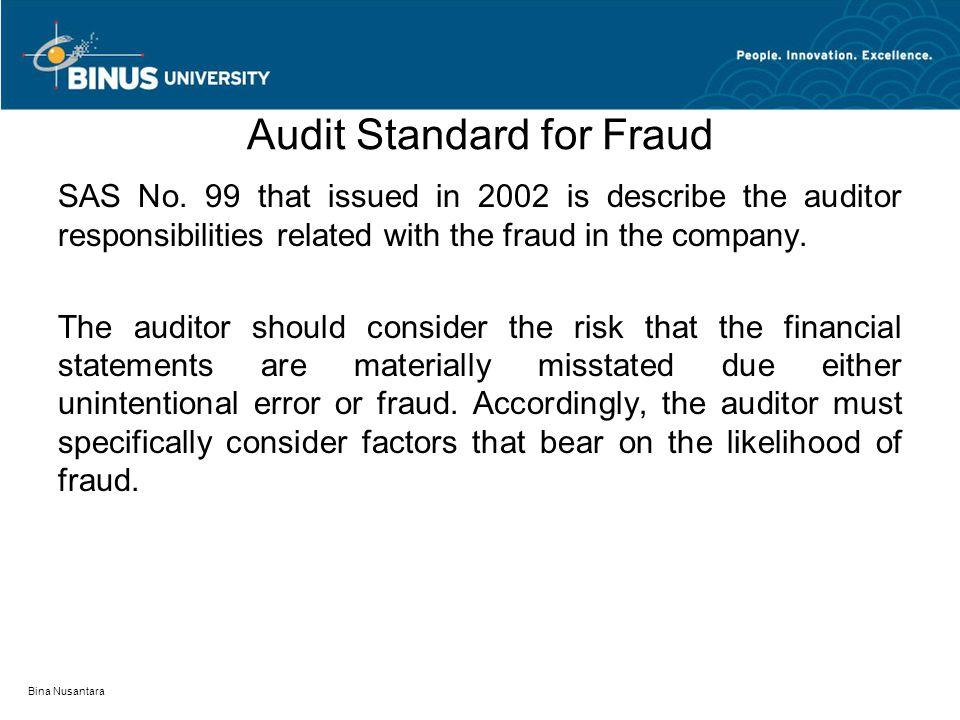 Audit Standard for Fraud SAS No.