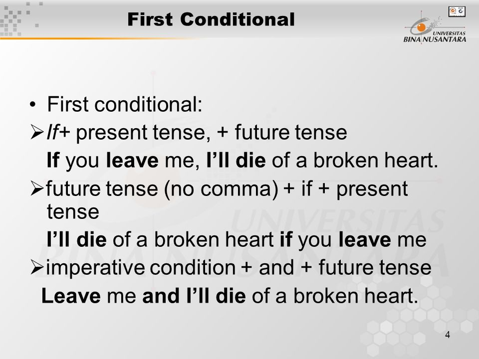 4 First Conditional First conditional:  If+ present tense, + future tense If you leave me, I'll die of a broken heart.
