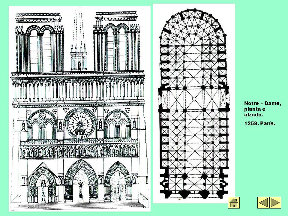 Notre – Dame, planta e alzado. 1258. París.