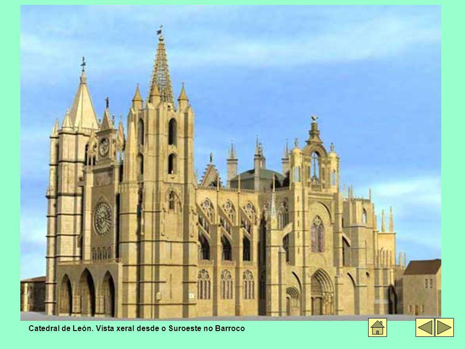 Catedral de León. Vista xeral desde o Suroeste no Barroco