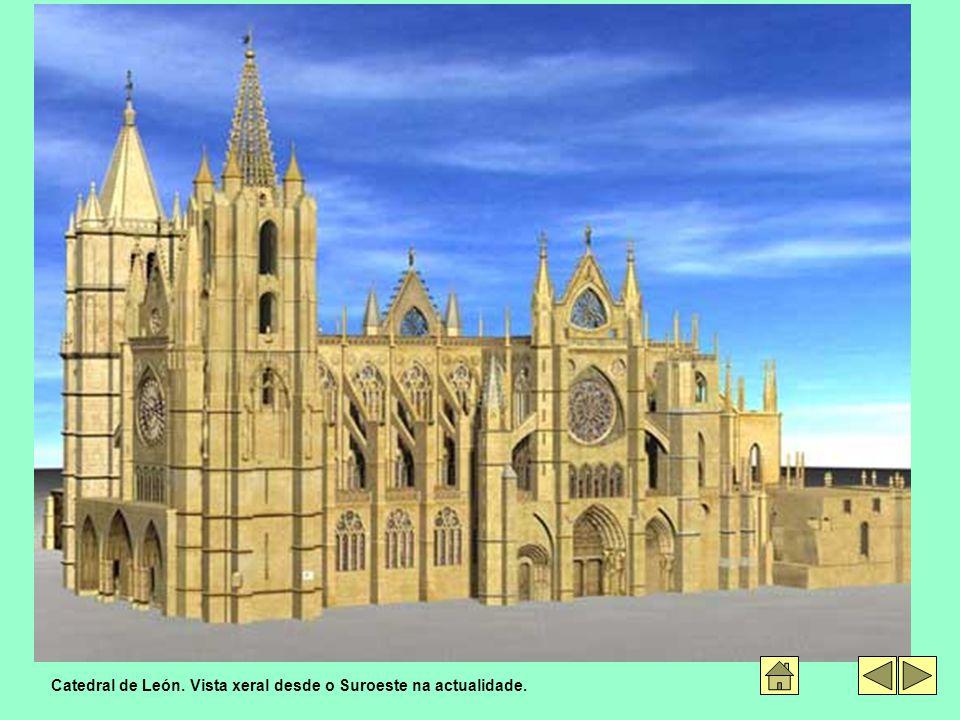 Catedral de León. Vista xeral desde o Suroeste na actualidade.