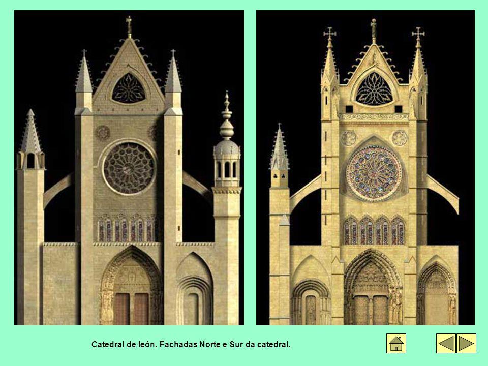 Catedral de león. Fachadas Norte e Sur da catedral.