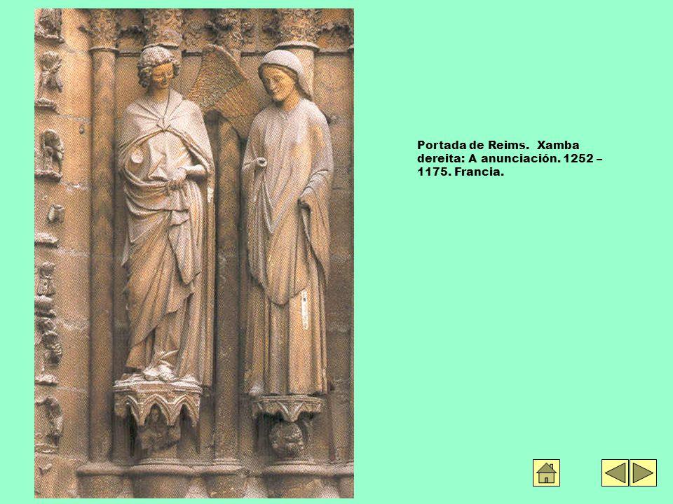 Portada de Reims. Xamba dereita: A anunciación. 1252 – 1175. Francia.