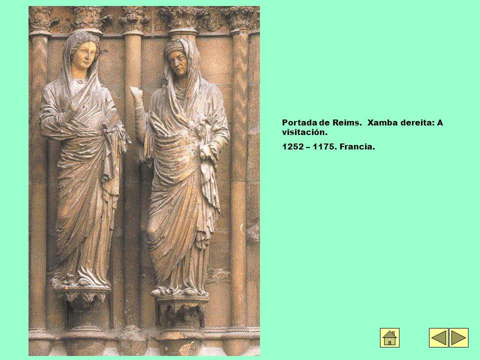 Portada de Reims. Xamba dereita: A visitación. 1252 – 1175. Francia.