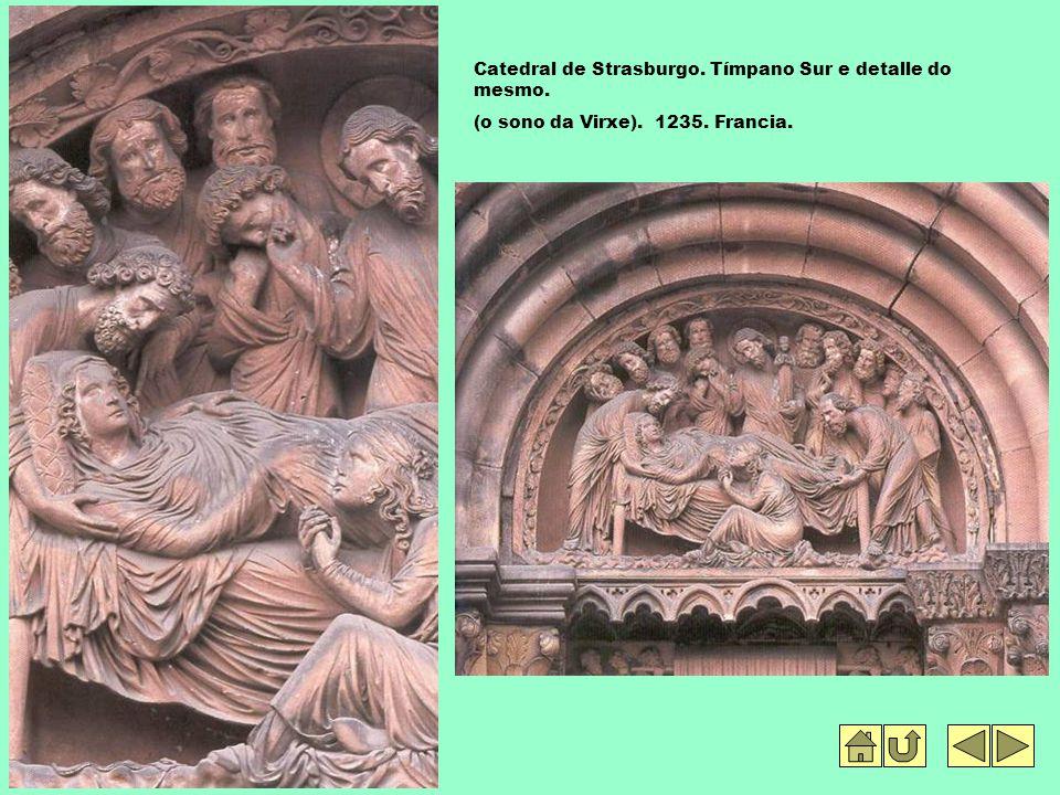 Catedral de Strasburgo. Tímpano Sur e detalle do mesmo. (o sono da Virxe). 1235. Francia.
