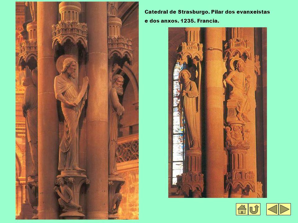 Catedral de Strasburgo. Pilar dos evanxeistas e dos anxos. 1235. Francia.