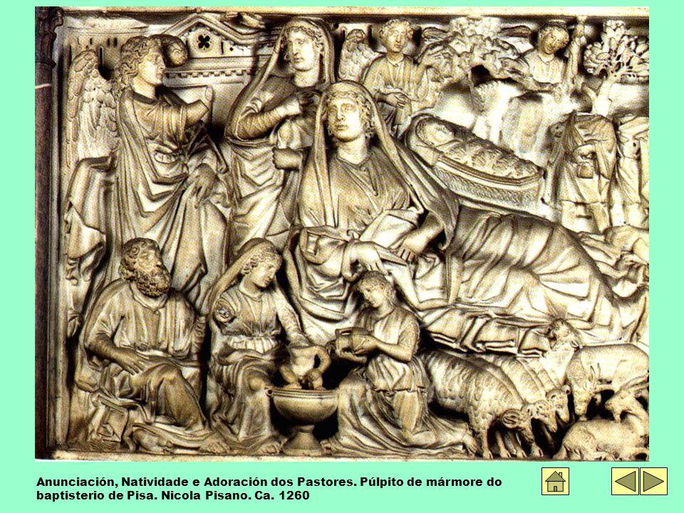 Anunciación, Natividade e Adoración dos Pastores. Púlpito de mármore do baptisterio de Pisa.