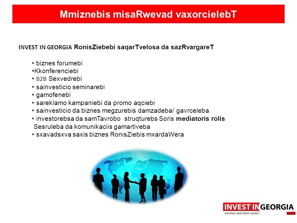 Mmiznebis misaRwevad vaxorcielebT INVEST IN GEORGIA RonisZiebebi saqarTvelosa da sazRvargareT biznes forumebi Kkonferenciebi B2B Sexvedrebi sainvestic