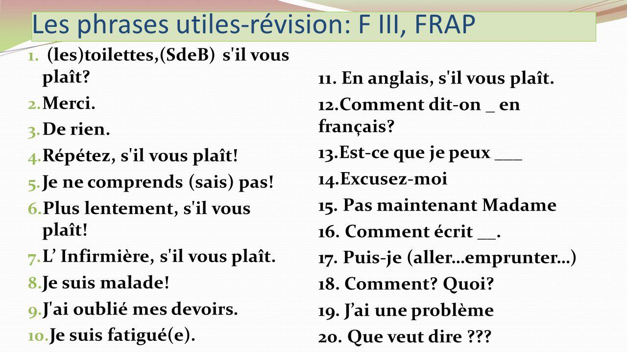 Les phrases utiles-révision: F III, FRAP 1. (les)toilettes,(SdeB) s il vous plaît.