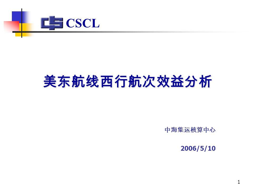 1 美东航线西行航次效益分析 中海集运核算中心 2006/5/10 CSCL