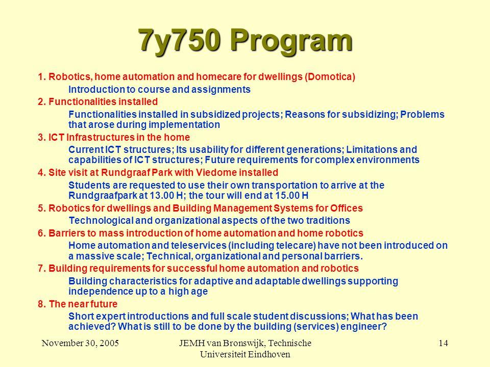 November 30, 2005JEMH van Bronswijk, Technische Universiteit Eindhoven 14 7y750 Program 1.