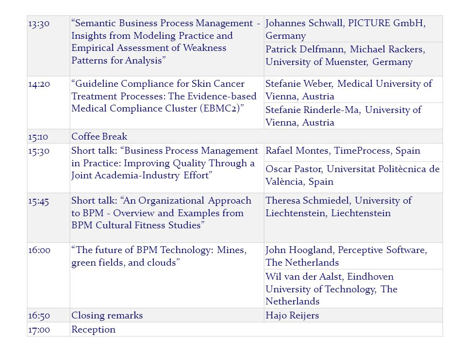 """/ name of department PAG E 520-4-2015 13:30""""Semantic Business Process Management - Insights from Modeling Practice and Empirical Assessment of Weaknes"""