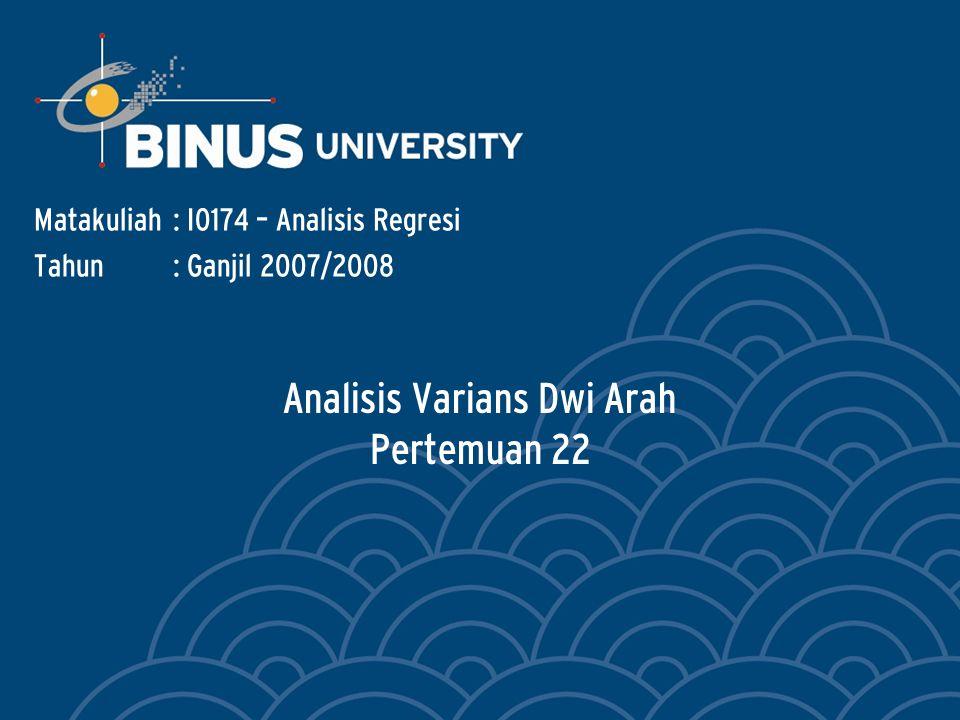 Analisis Varians Dwi Arah Pertemuan 22 Matakuliah: I0174 – Analisis Regresi Tahun: Ganjil 2007/2008