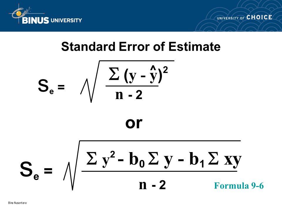 Bina Nusantara Standard Error of Estimate s e =  ( y - y ) 2 n - 2  y 2 - b 0  y - b 1  xy s e = n - 2 or Formula 9-6 ^