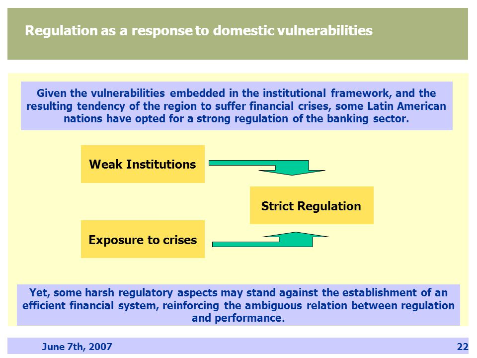 June 7th, 200722 Given the vulnerabilities embedded in the institutional framework, and the resulting tendency of the region to suffer financial crise