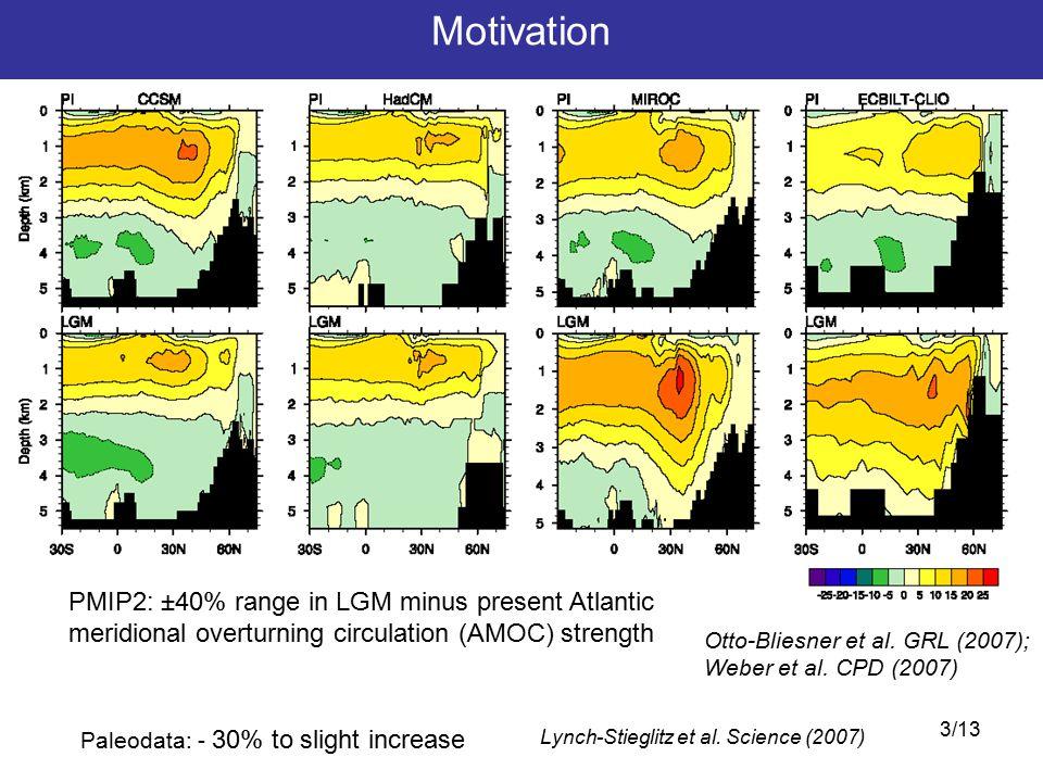 3/13 Motivation PMIP2: ±40% range in LGM minus present Atlantic meridional overturning circulation (AMOC) strength Lynch-Stieglitz et al.