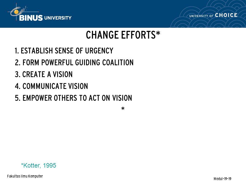 Fakultas Ilmu Komputer Modul-19-19 CHANGE EFFORTS* 1.