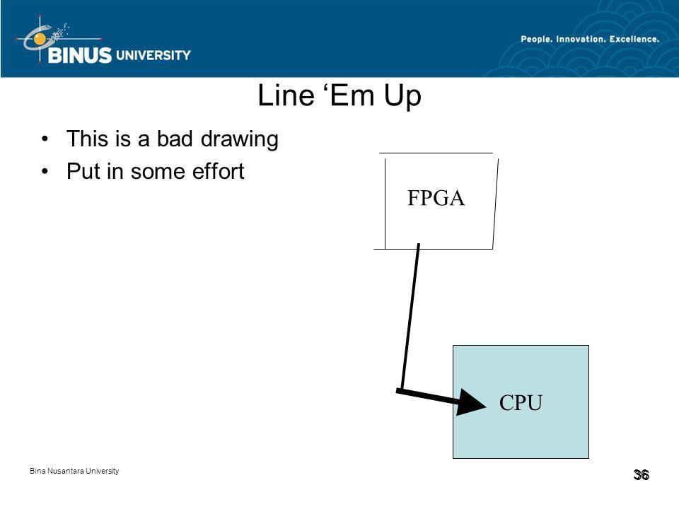 Bina Nusantara University 36 Line 'Em Up This is a bad drawing Put in some effort FPGA CPU