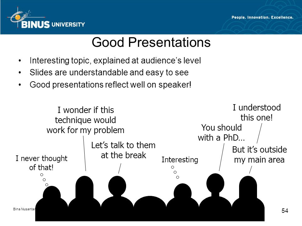 Bina Nusantara University 54 Good Presentations Interesting topic, explained at audience's level Slides are understandable and easy to see Good presentations reflect well on speaker.